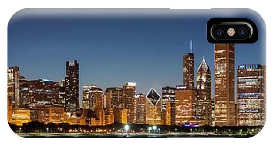 Aon Center IPhone X / XS Case featuring the photograph Chicago Downtown Skyline At Night by Semmick Photo