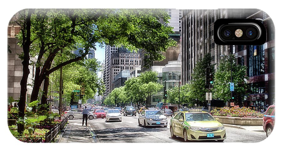Cities IPhone X Case featuring the photograph Chicago Hailing A Cab In June by Thomas Woolworth