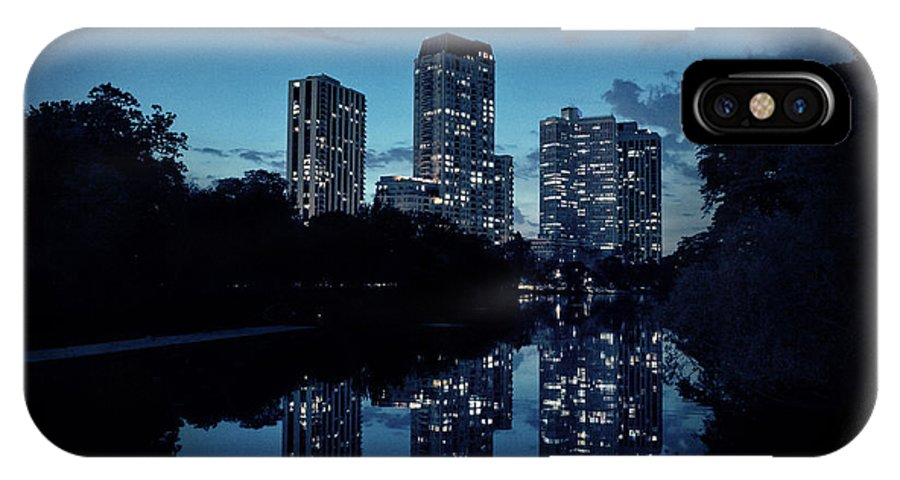 Sunset IPhone X Case featuring the photograph Chicago High-rise Buildings By The Lincoln Park Pond At Night by Bruno Passigatti