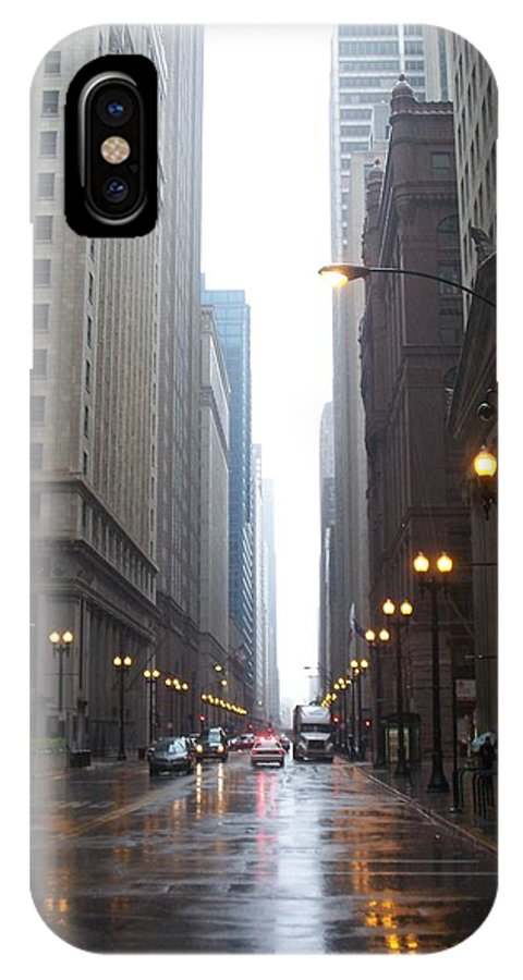 Chicago IPhone X Case featuring the photograph Chicago In The Rain 2 by Anita Burgermeister