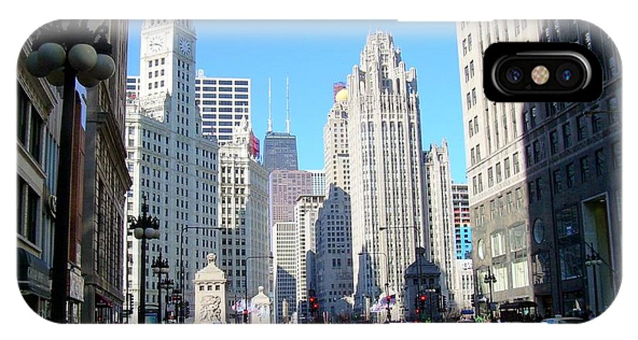 Chicago IPhone X Case featuring the photograph Chicago Miracle Mile by Anita Burgermeister
