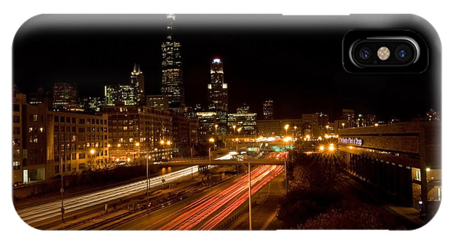 Chicago Skyline IPhone Case featuring the photograph Chicago Night Skyline by Sven Brogren