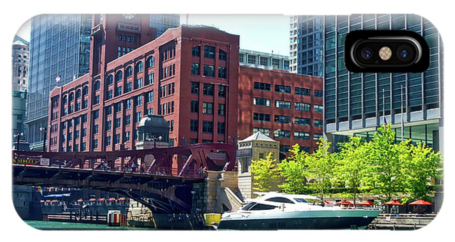 Chicago IPhone X Case featuring the photograph Chicago Parked By The Clark Street Bridge On The River by Thomas Woolworth
