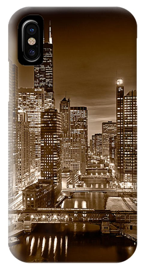 Boeing IPhone X Case featuring the photograph Chicago River City View B And W by Steve gadomski