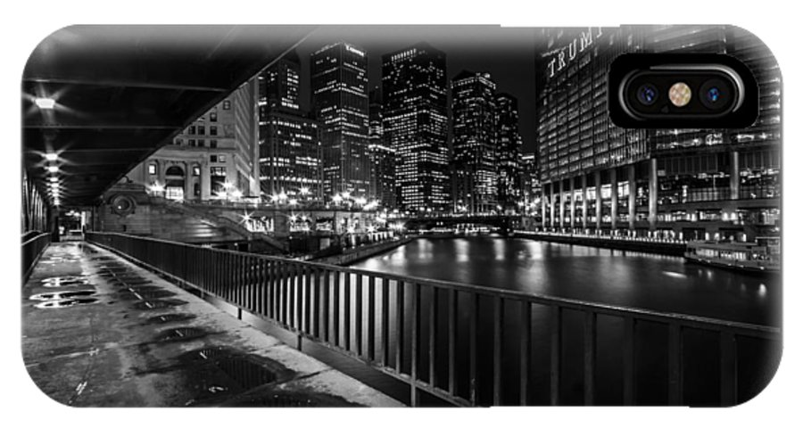 Chicago IPhone X Case featuring the photograph Chicago River View In Black And White by Sven Brogren