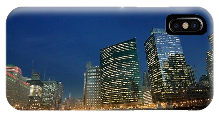 Chicago Skyline IPhone X Case featuring the photograph Chicago River With Skyline And Moon by Sven Brogren