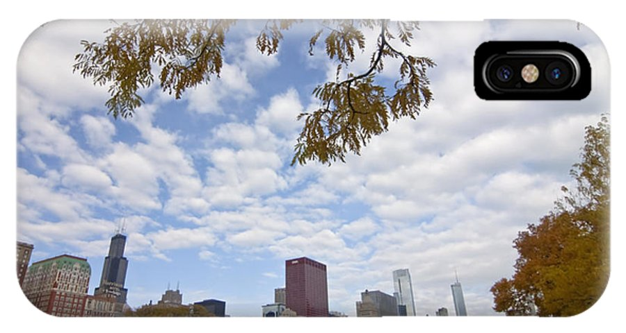 Fall Colors IPhone X Case featuring the photograph Chicago Skyline And Fall Colors by Sven Brogren