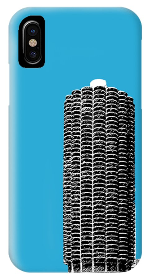 Architecture IPhone X Case featuring the digital art Chicago Skyline Marina Towers - Teal by DB Artist