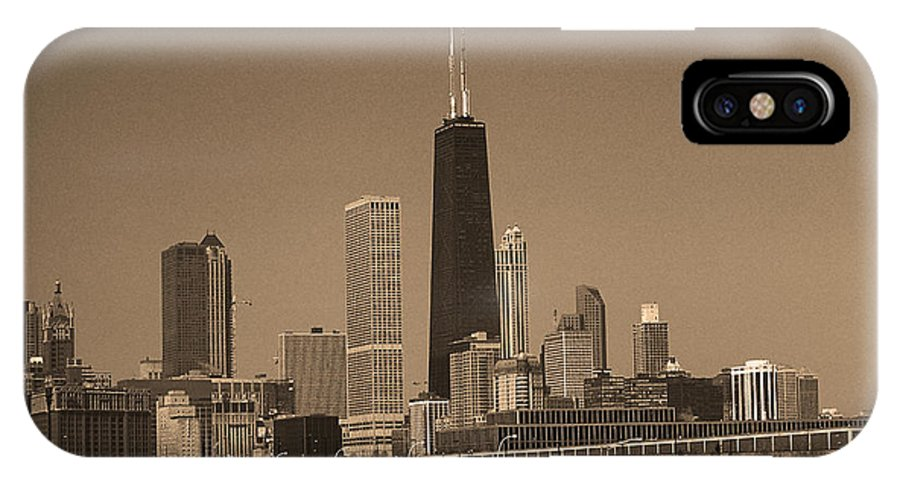 America IPhone X Case featuring the photograph Chicago Skyline Sepia #10 by Frank Romeo
