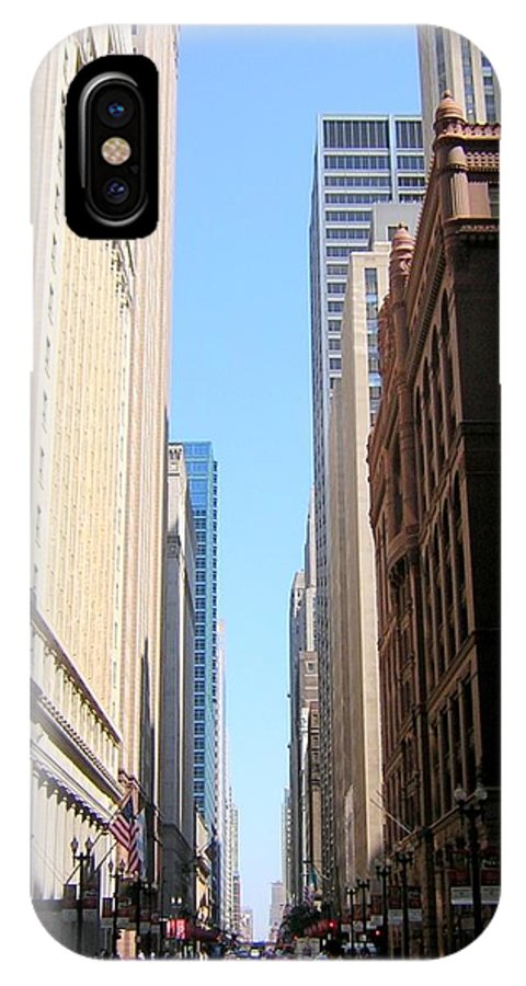 Chicago IPhone X Case featuring the photograph Chicago Street With Flags by Anita Burgermeister