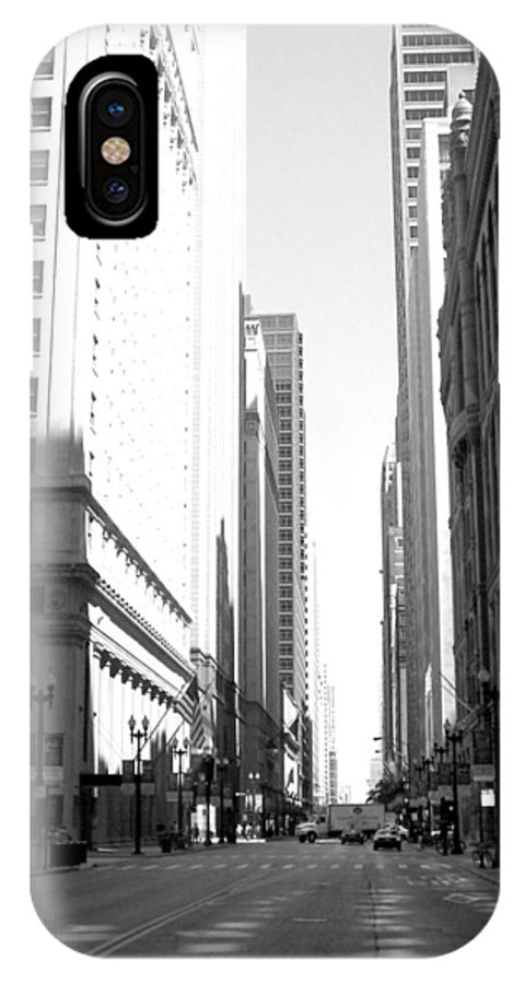 Chicago IPhone X Case featuring the photograph Chicago Street With Flags B-w by Anita Burgermeister