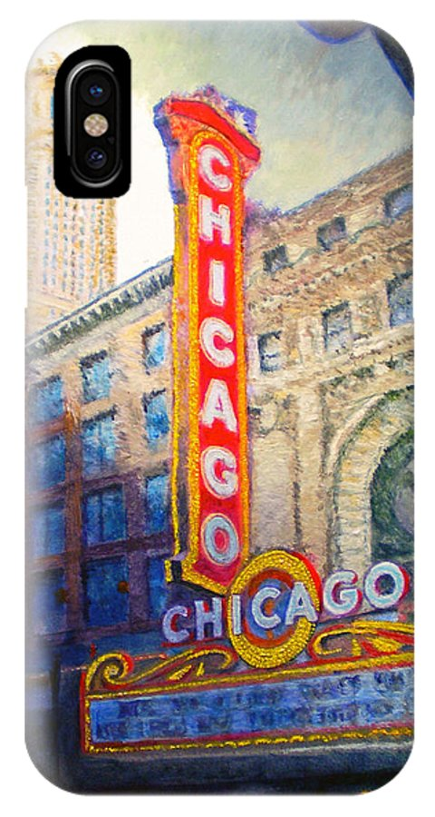 Chicago IPhone X Case featuring the painting Chicago Theater by Michael Durst