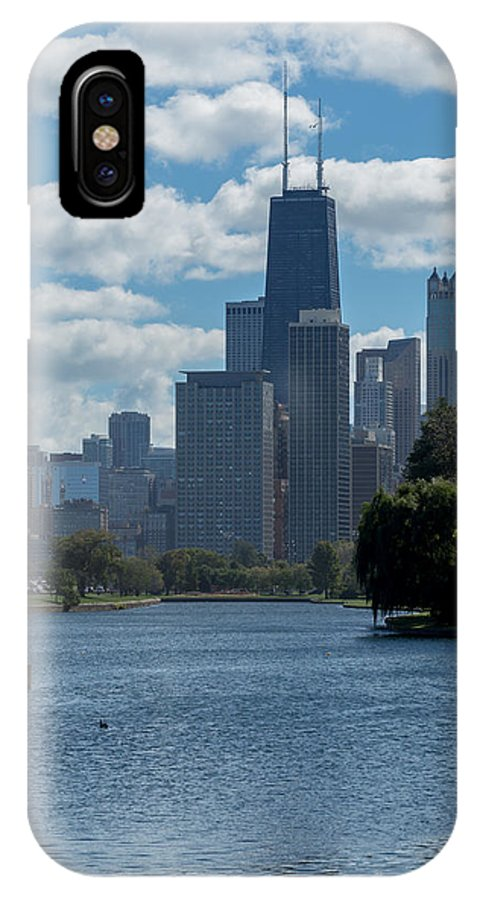Chicago IPhone X Case featuring the photograph Chicago - View From Lincoln Park Lagoon by Greg Thiemeyer