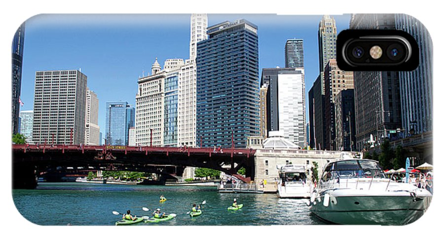 Chicago IPhone X Case featuring the photograph Chicago Watching The Kayaks On The River by Thomas Woolworth