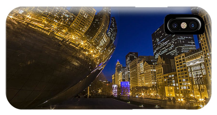 Bean IPhone X Case featuring the photograph Chicago's Millenium Park At Dusk by Sven Brogren
