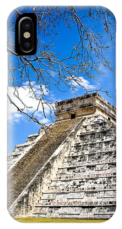 Chichen Itza IPhone X Case featuring the photograph Chichen Itza And Tree by Chris Brannen