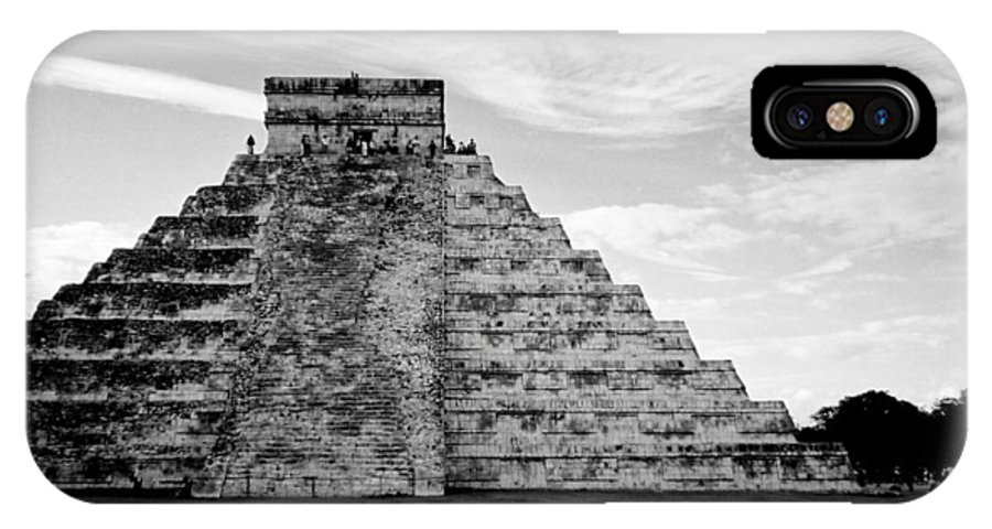 Mexico IPhone X Case featuring the photograph Chichen Itza B-w by Anita Burgermeister