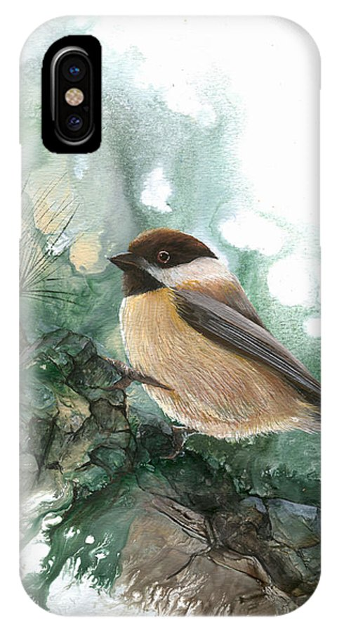 Bird IPhone X Case featuring the painting Chickadee by Sherry Shipley
