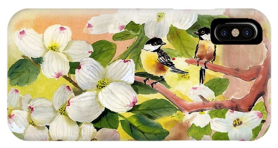 Chickadees IPhone X Case featuring the painting Chickadees In The Dogwood Tree by Eileen Fong