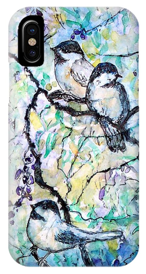 Birds IPhone X Case featuring the painting Chickadees by Norma Boeckler