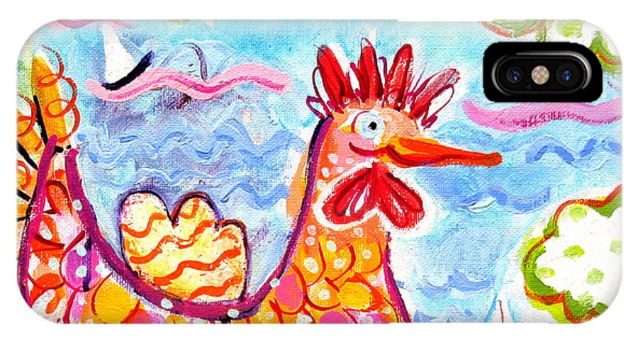 Orange IPhone X / XS Case featuring the painting Chicken Of The Sea by Deborah Burow