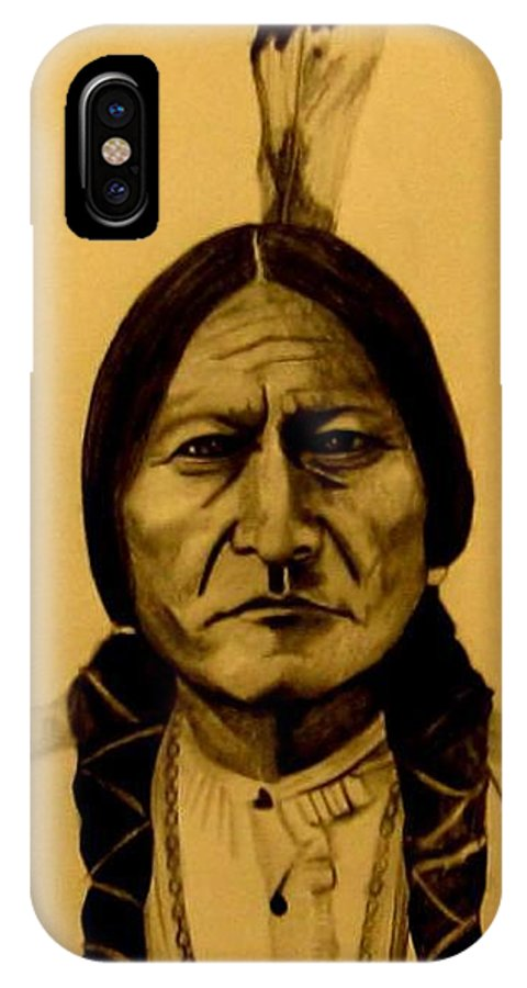 Portrait IPhone Case featuring the drawing Chief Sitting Bull Tatanka Iyotake by Michelle Dallocchio