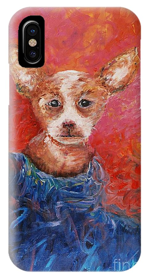 Dog IPhone Case featuring the painting Chihuahua Blues by Nadine Rippelmeyer