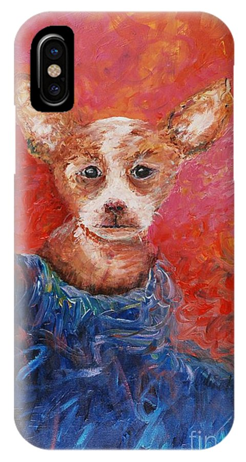 Dog IPhone X Case featuring the painting Chihuahua Blues by Nadine Rippelmeyer