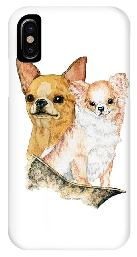 Chihuahua IPhone X Case featuring the drawing Chihuahuas by Kathleen Sepulveda