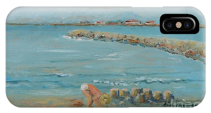 Beach IPhone X Case featuring the painting Child Playing at Provence Beach by Nadine Rippelmeyer