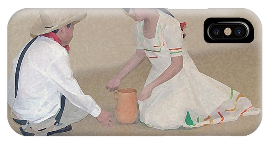 Children IPhone X Case featuring the digital art Children Playing by Robert Meanor
