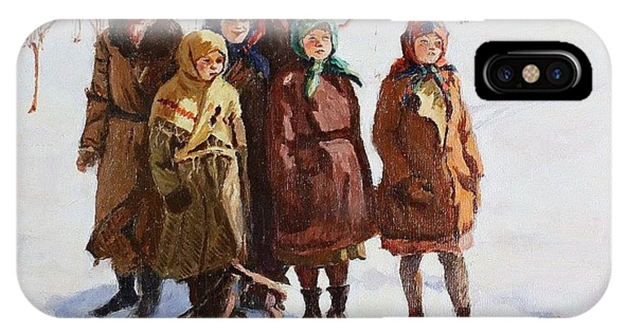 Snow IPhone X Case featuring the digital art Children With A Sled Nikolai Petrovich Bogdanov-belsky by Eloisa Mannion