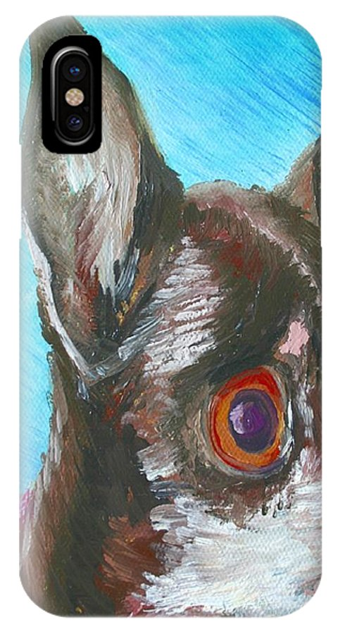 Dog IPhone X Case featuring the painting Chili Chihuahua by Minaz Jantz