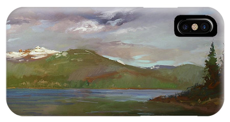 Murals IPhone X Case featuring the painting Chimney Rock At Priest Lake Plein Air by Betty Jean Billups