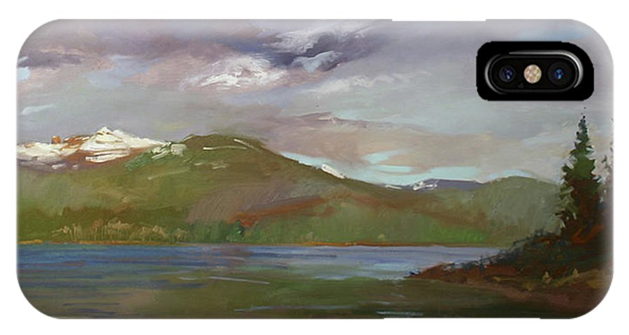 Murals IPhone X / XS Case featuring the painting Chimney Rock At Priest Lake Plein Air by Betty Jean Billups