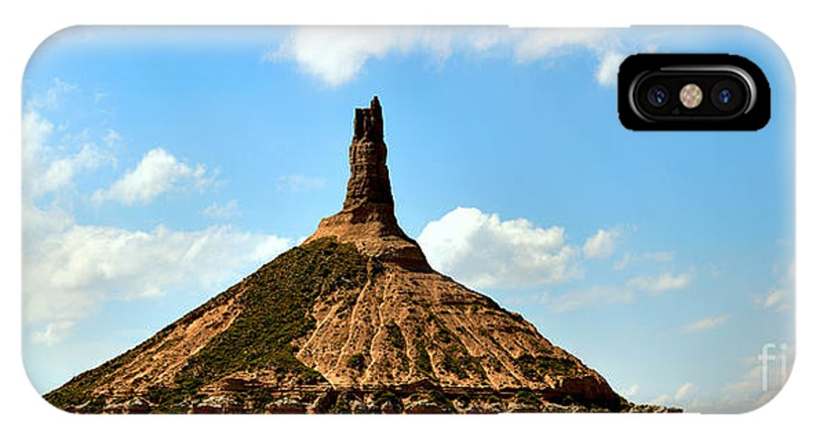 Scotts Bluff Chimney Rock IPhone X Case featuring the photograph Chimney Rock Panorama by Adam Jewell