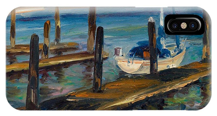 Marina IPhone X Case featuring the painting China Basin Docks by Rick Nederlof