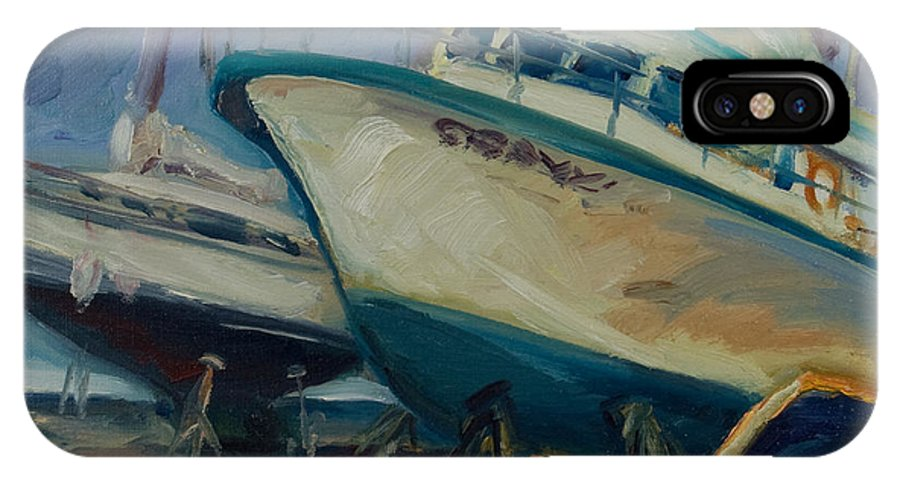 Boats IPhone X Case featuring the painting China Basin by Rick Nederlof