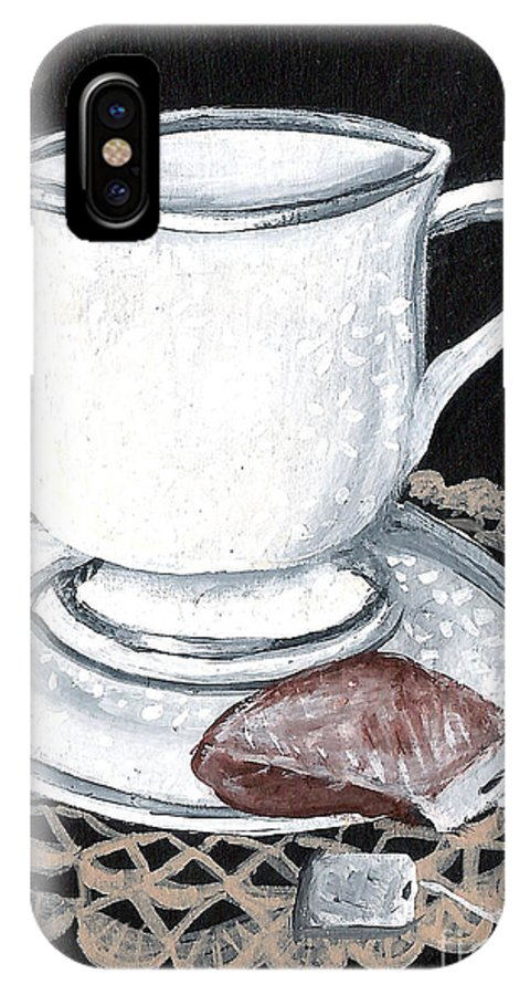 Cup IPhone X Case featuring the painting China Tea Cup by Elaine Hodges