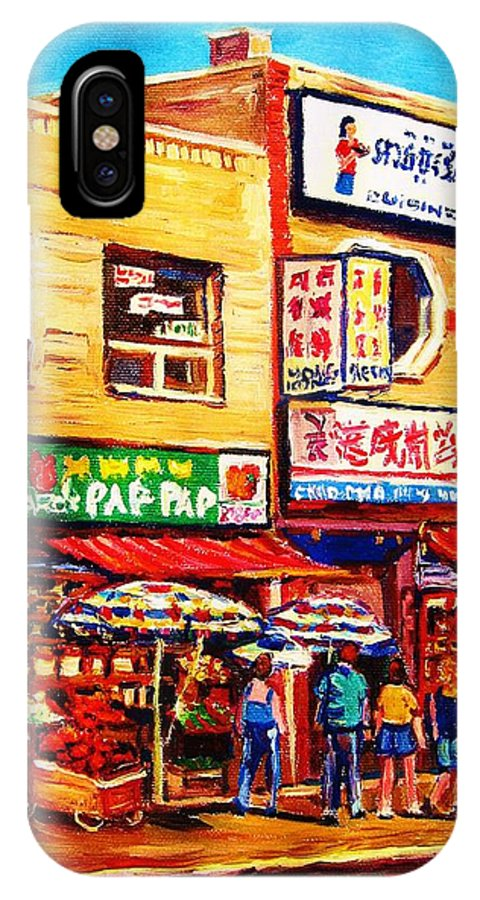 Montreal IPhone X Case featuring the painting Chinatown Markets by Carole Spandau
