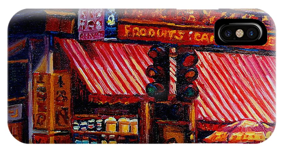 Chinatown IPhone X Case featuring the painting Chinatown Montreal by Carole Spandau