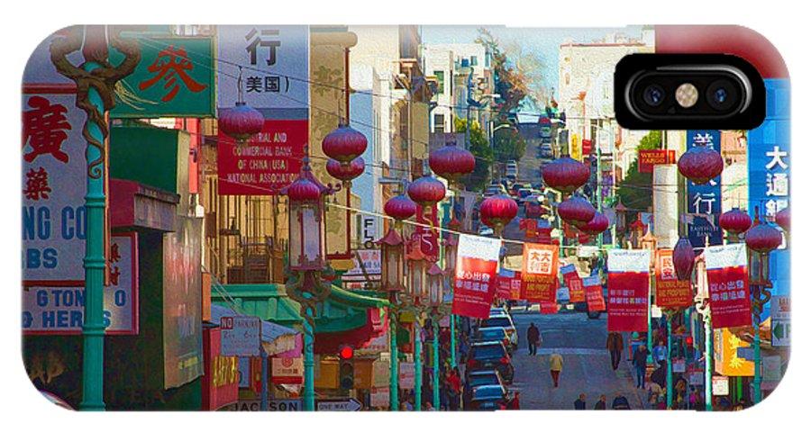 Bonnie Follett IPhone X Case featuring the photograph Chinatown Street Scene by Bonnie Follett