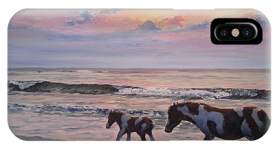 Horses IPhone X Case featuring the painting Chincoteague Horses by Paul Emig