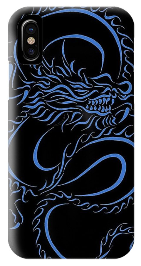 be8bc5e09 Dragon IPhone X Case featuring the digital art Chinese Dragon Tribal Blue  by Tina Barnash
