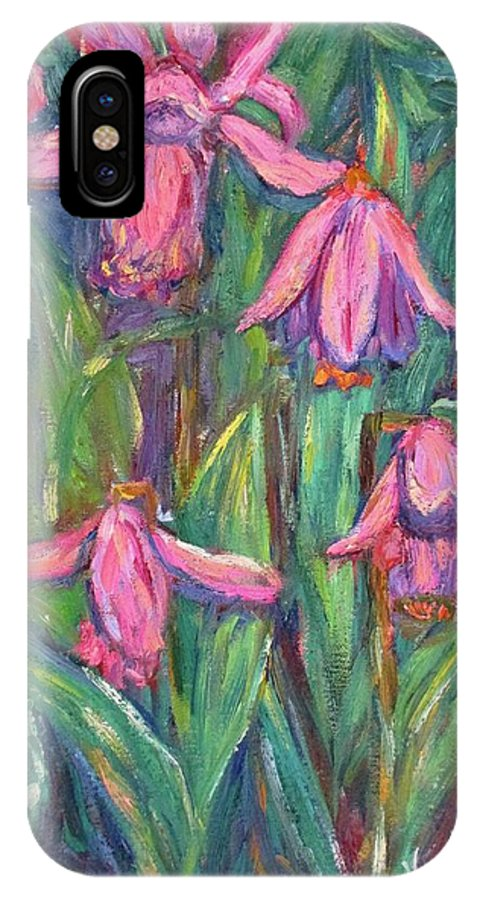 Floral IPhone X Case featuring the painting Chinese Orchids by Kendall Kessler