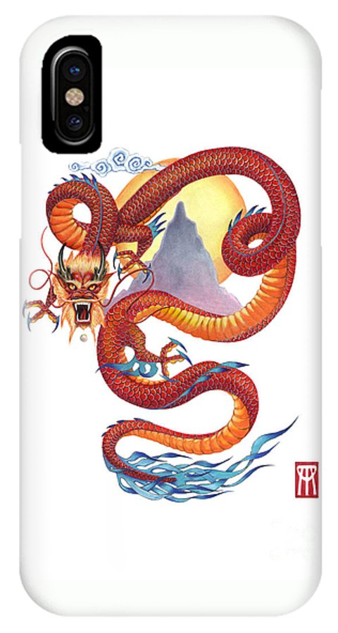 Dragon IPhone X Case featuring the painting Chinese Red Dragon by Melissa A Benson