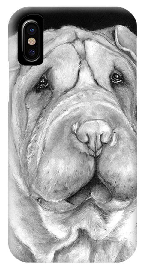 Sharpei IPhone X / XS Case featuring the painting Chinese Sharpei by Portraits By NC