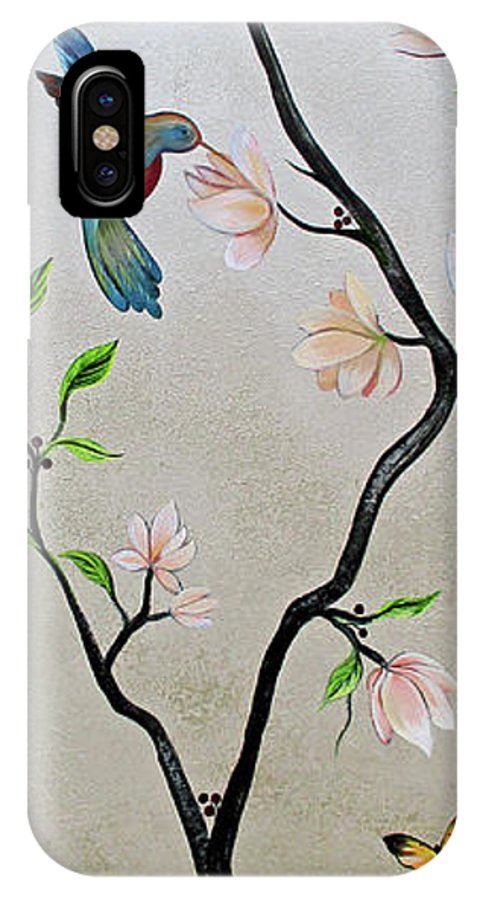 Peacock Peacocks Bird Birds Pattern Patterns Flowers Pink Green Leaf Leafy Leaves Vine Vines Ivy Plant Plants Fabric Fabrics Design Chinoiserie Panels Groupings Pheasant Flower Magnolia Golden Pheasant Butterfly Transitional Cardinal Red Bird Blue Bird Jay Peach Green Humming Bird And Blue Jay IPhone X Case featuring the painting Chinoiserie - Magnolias And Birds #5 by Shadia Derbyshire