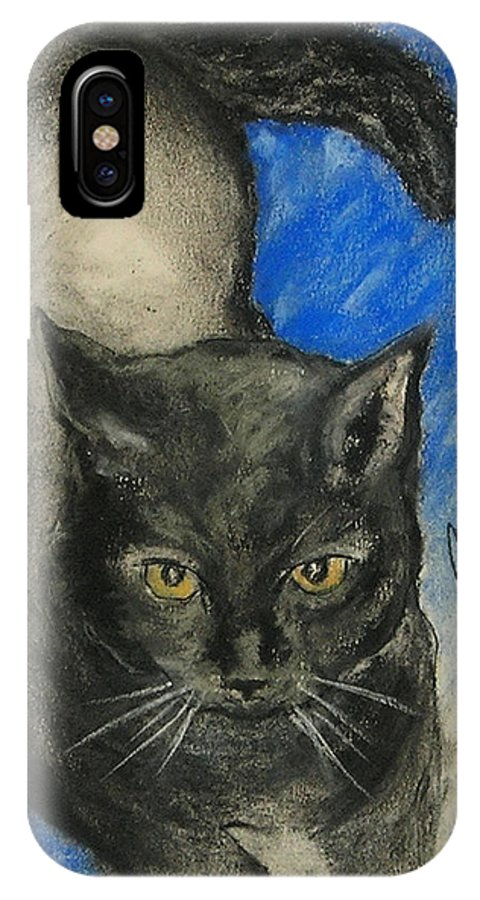 Cat IPhone X Case featuring the drawing Chloe by Cori Solomon