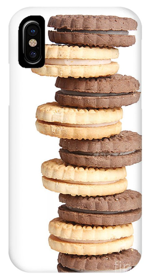 Cookies IPhone X Case featuring the photograph Chocolate And Vanilla Creamed Filled Cookies by James BO Insogna